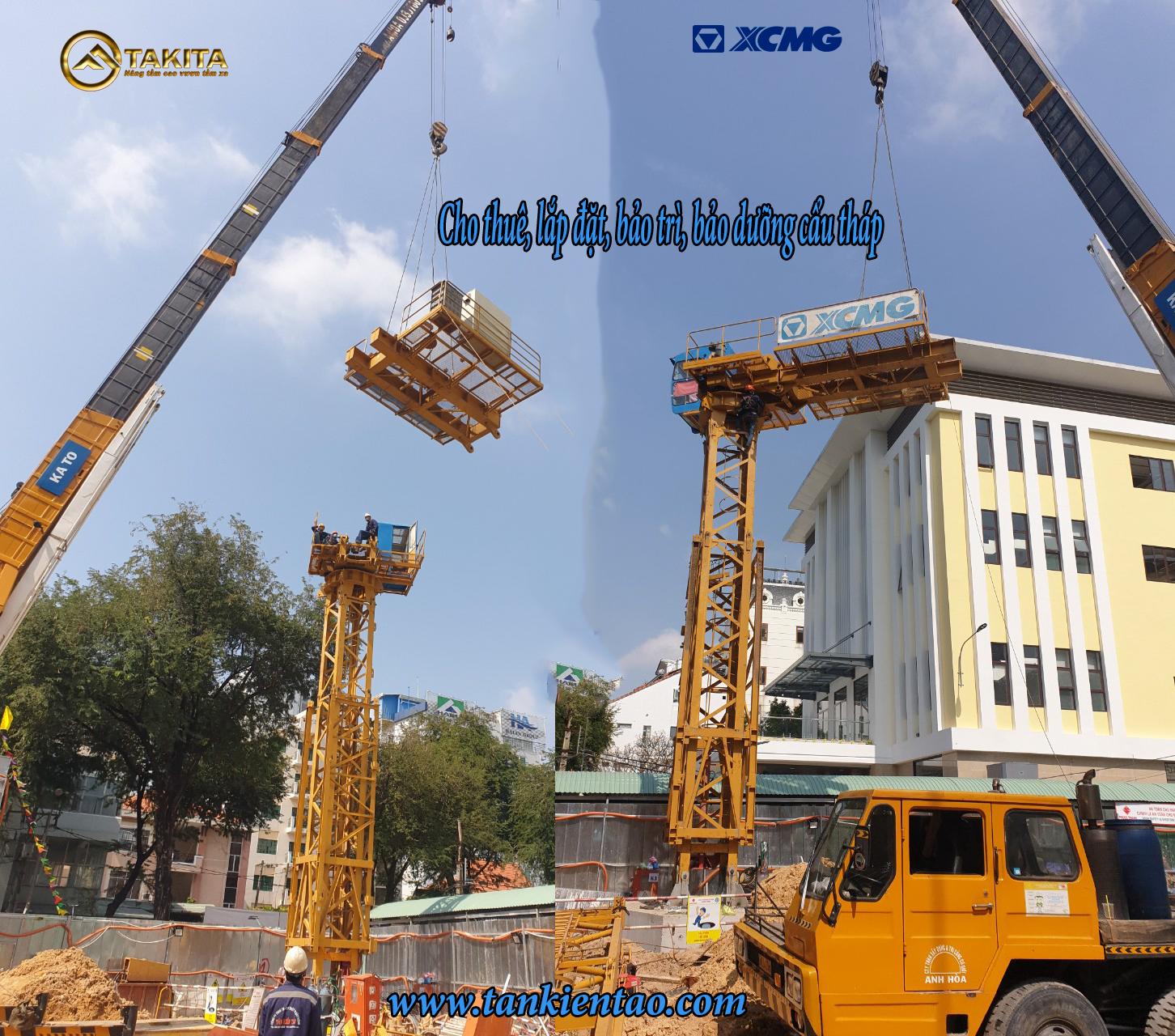Cẩu tháp gật gù lắp tại công trình : FIDECO TOWER